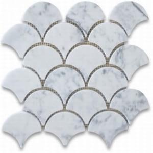 bianca carrara honed fan shaped