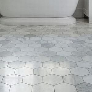 carrara honed hexagon mosaic