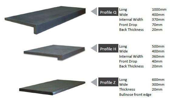 honed dark bluestone coping tiles