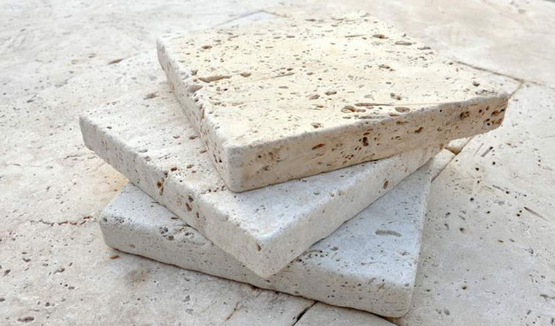 Tuscan Rustic Unfilled Tumbled Travertine Tiles Pavers 203x203