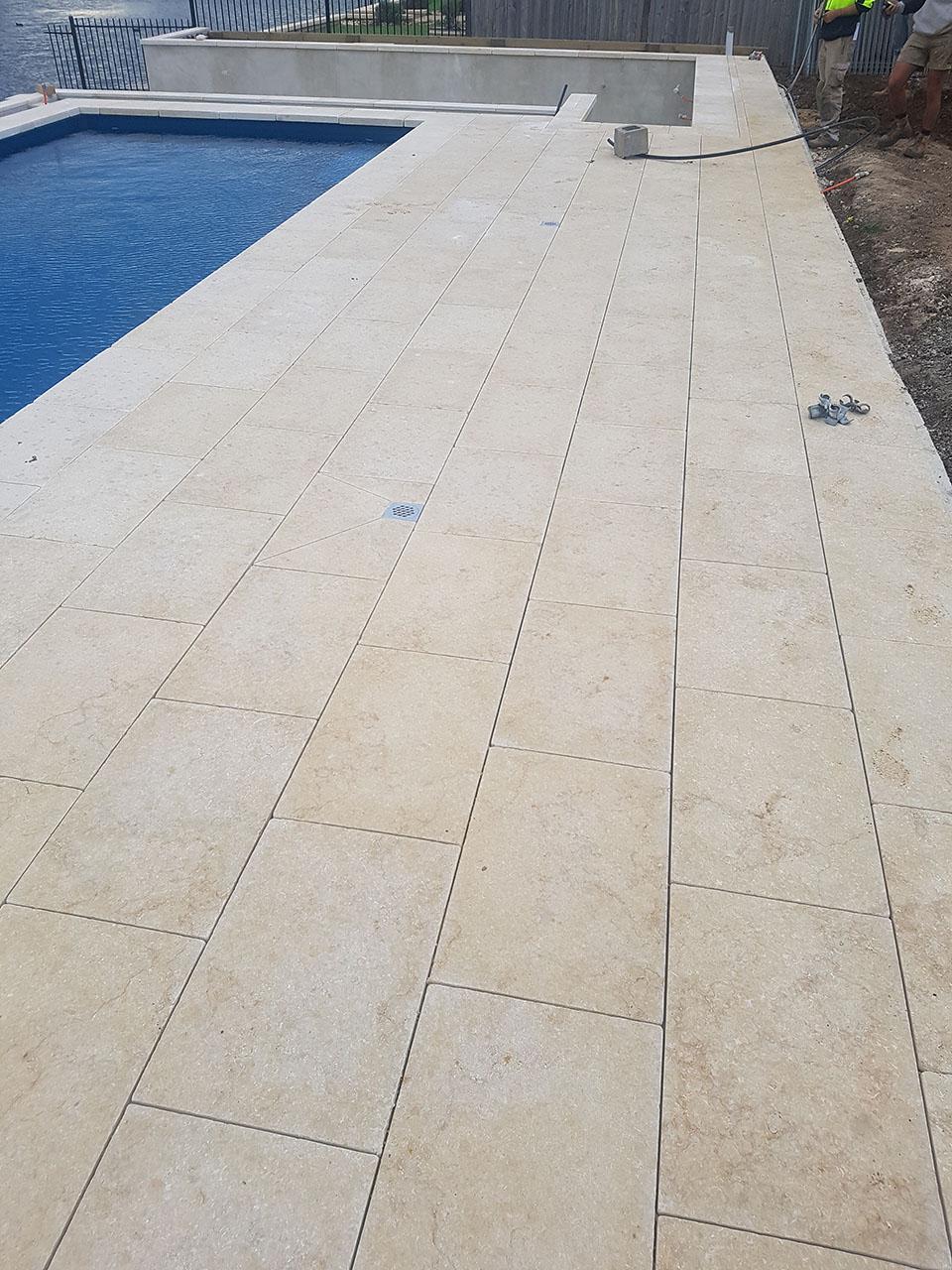 Crema Novelda Tumbled Brushed Limestone Tile Paver Pool