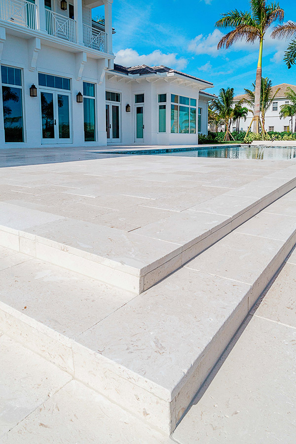 Myra Beige Brushed Limestone Tiles Pavers Pool Steps 30mm