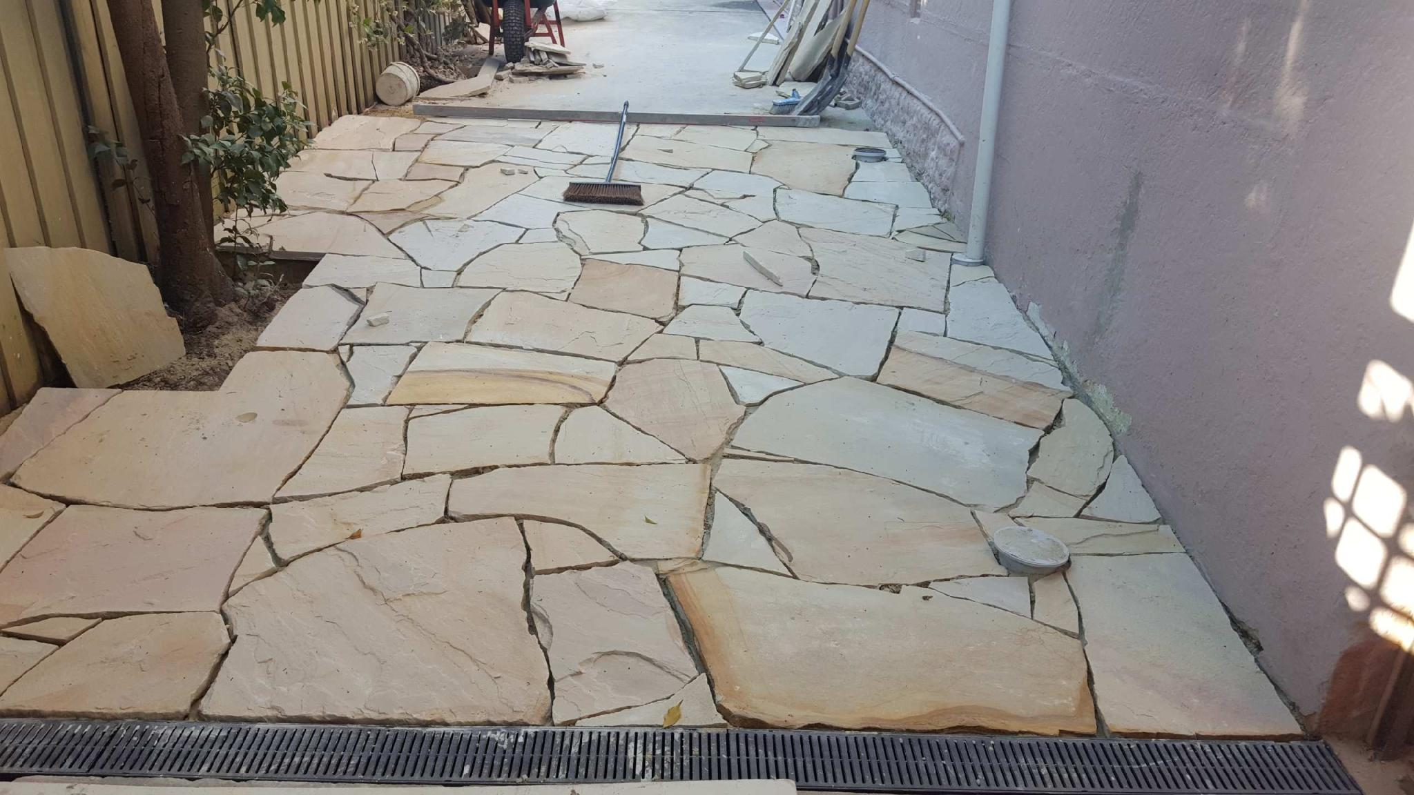 Indian Sandstone Natural Crazy Paving Driveway