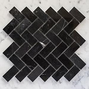 nero marquina honed herringbone marble