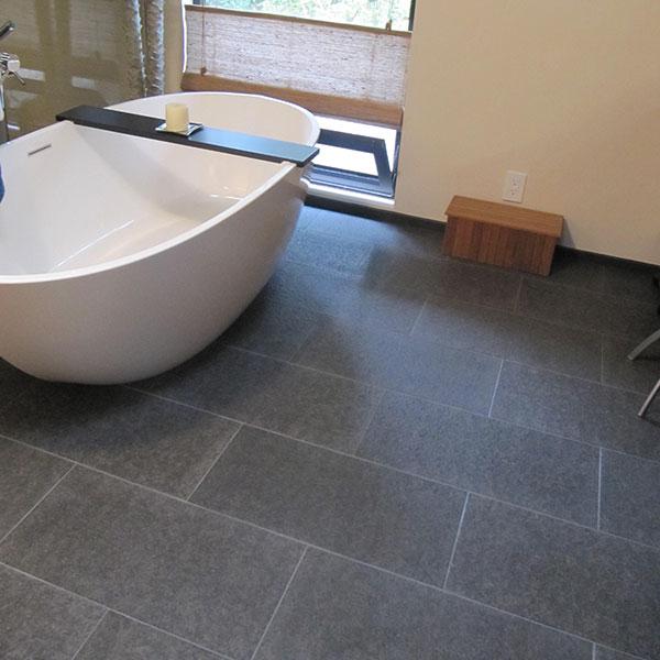 ... Bluestone Flamed Brushed Tile Paver Bathroom