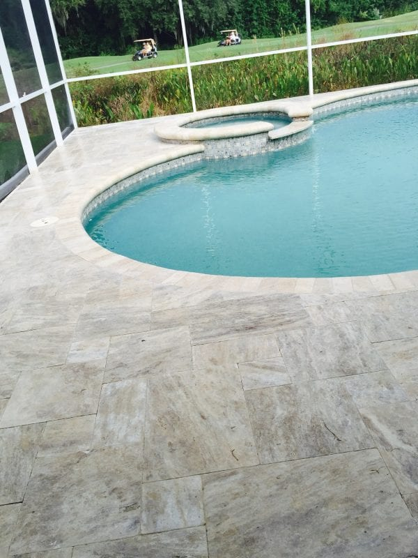 Cashmere Vein Cut Unfilled & Tumbled Travertine Pool Coping