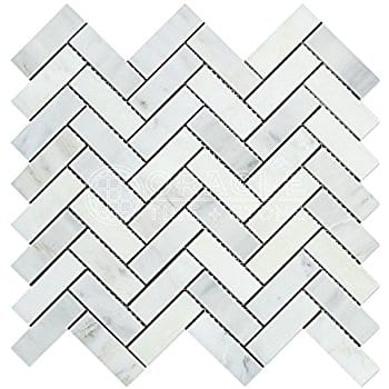 Bianco Carrara Herringbone Honed Marble Mosaic Tiles