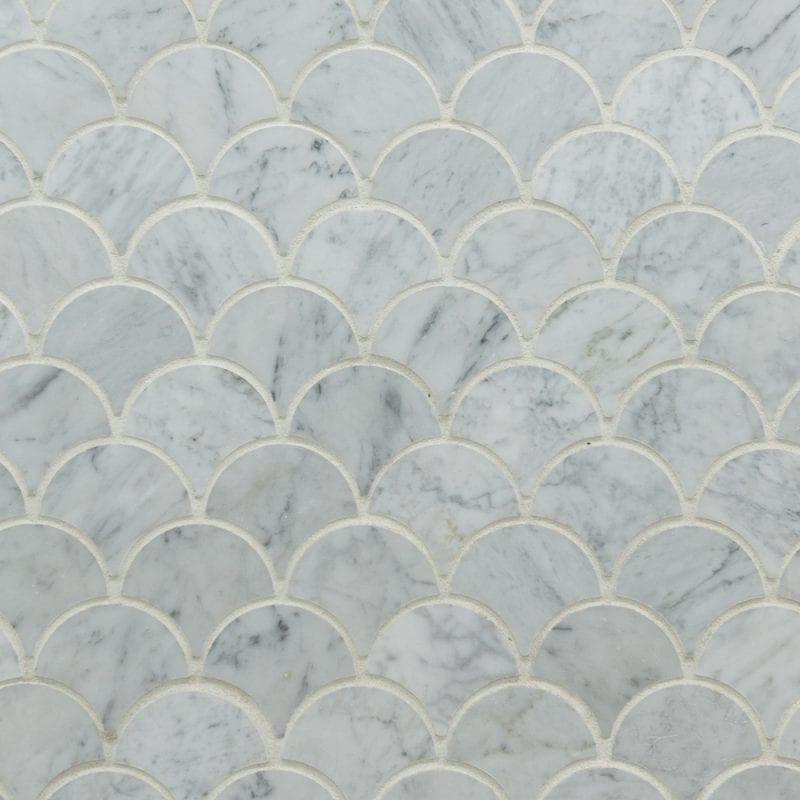 Bianco Carrara Honed Fan Shaped Marble Tiles