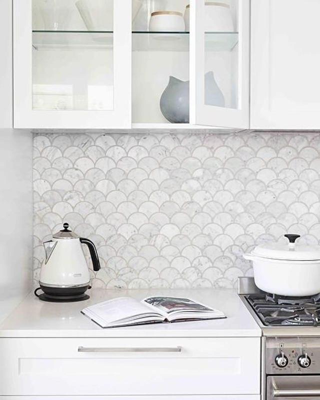 Bianco Carrara Honed Fan Shaped Marble Tiles Rms Traders