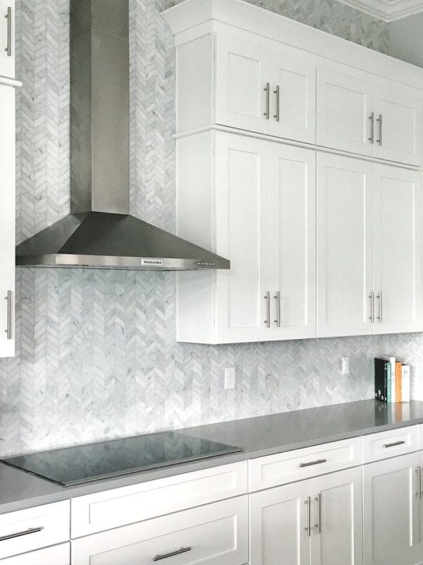 Bianco Carrara Herringbone Honed Marble Mosaic Tiles