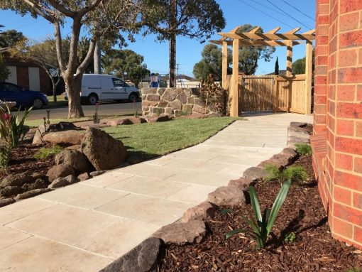 crema-novelda-tumbled-brushed-limestone-tile-paver-pathway