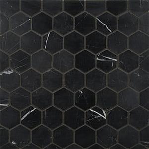 Nero Maquina Honed Marble Hexagon