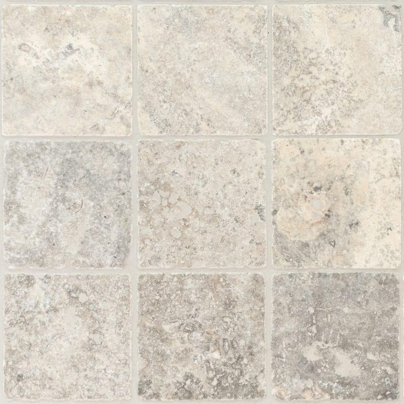 Silver Travertine Unfilled & Tumbled Cobblestones
