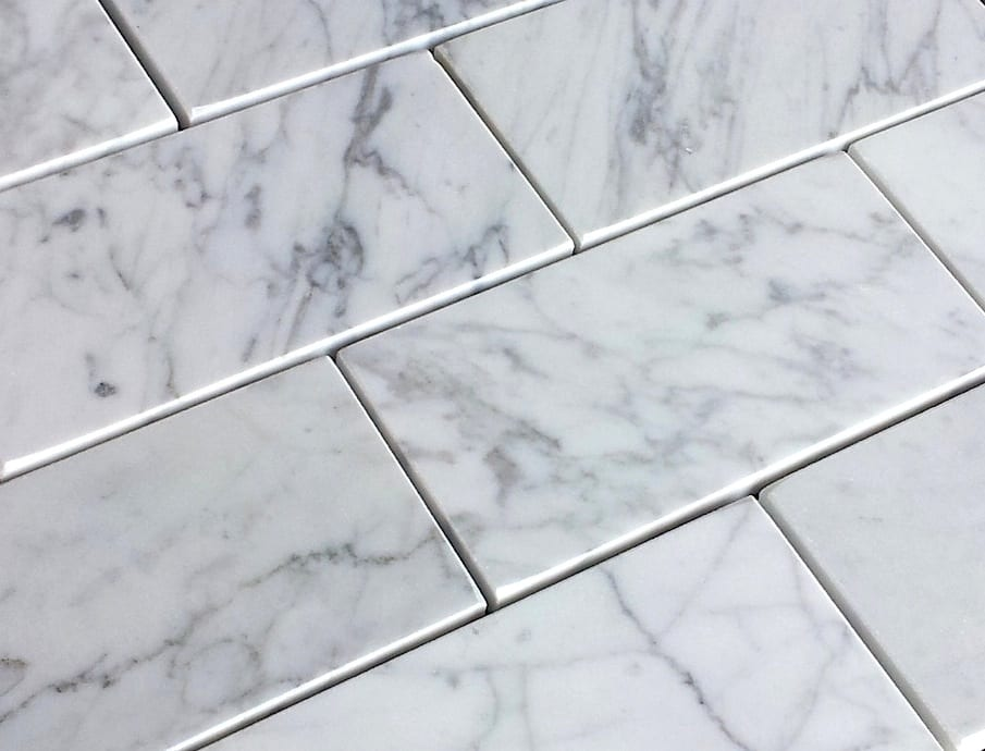 Bianco Carrara Honed Subway Marble Tiles