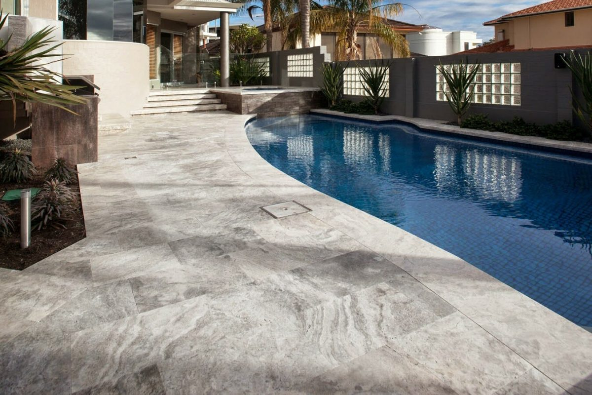 Silver Oyster Unfilled & Tumbled Travertine Pool Coping