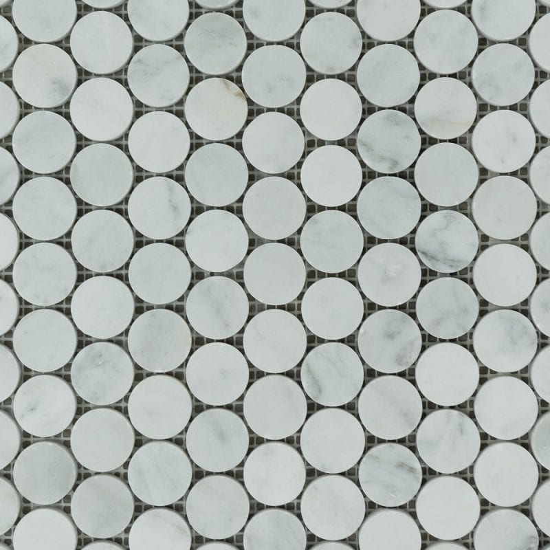 Bianco Carrara Penny Rounds Marble Tiles