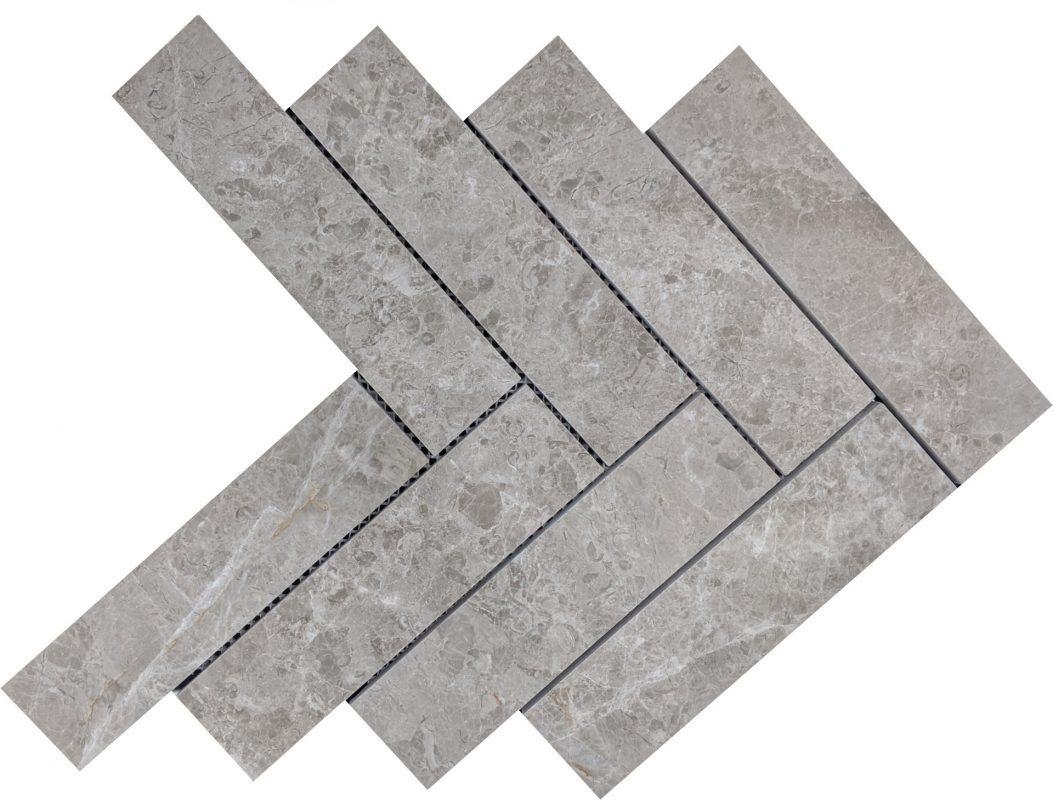 Tundra Grey Herringbone Honed Mosaic Tiles