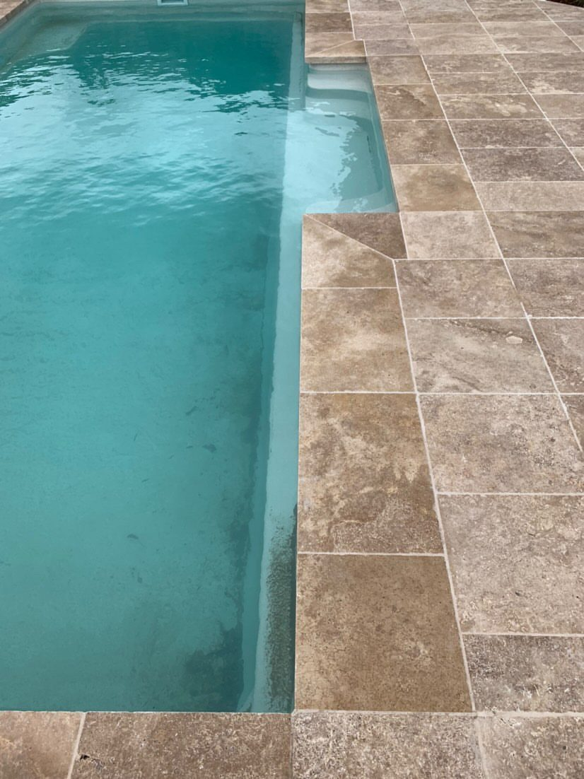 Noce Travertine Unfilled & Tumbled Coping Tiles